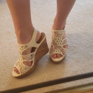 White lace cork heel sandals